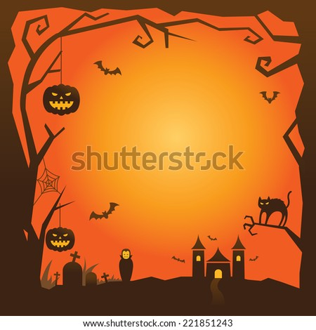 Halloween Background with tree border and castle - stock vector