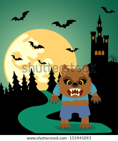 Halloween background with Werewolf and full moon - stock vector