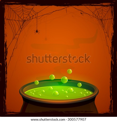 Halloween background with witches pot and green potion, illustration. - stock vector