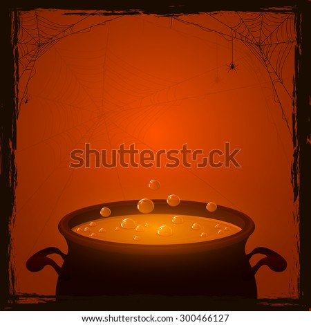 Halloween background with witches pot and orange potion, illustration. - stock vector