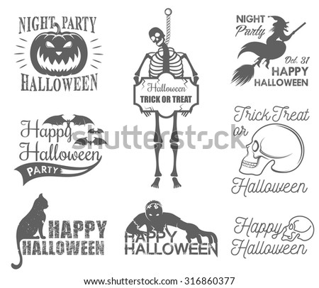 Halloween Badges set. Halloween set, drawn Halloween symbols pumpkin, broom, witch, skeleton, skull, cat, zombie lettering and drawing in vintage style. Vector illustration - stock vector
