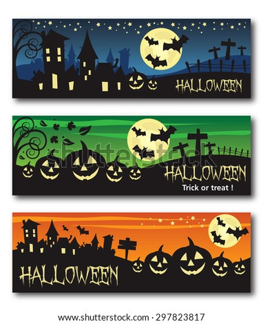 Halloween banner illustration design text outline no drop shadow on the .eps  version 10 - stock vector