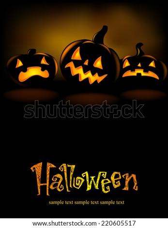 Halloween banner with three spiteful Jack o Lanterns, vector illustration  - stock vector