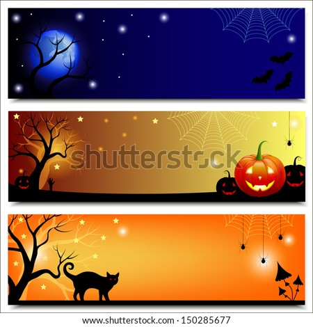 Halloween banners. Set of horizontal Halloween backgrounds. Vector illustration.  - stock vector
