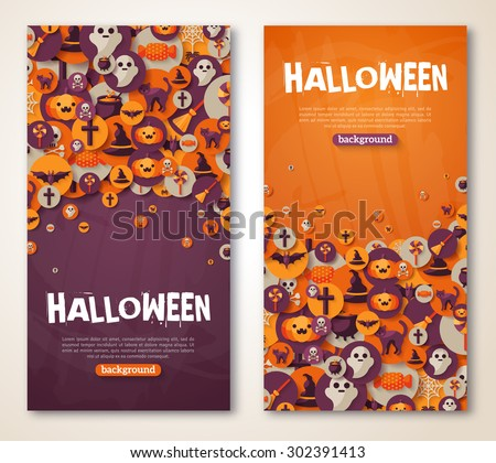 Halloween Banners Set. Vector Illustration. Flat Halloween Icons in Circles on Textured Backdrop. Trick or Treat Stickers. Halloween Party Invitation. Place for your text. Halloween menu design. - stock vector
