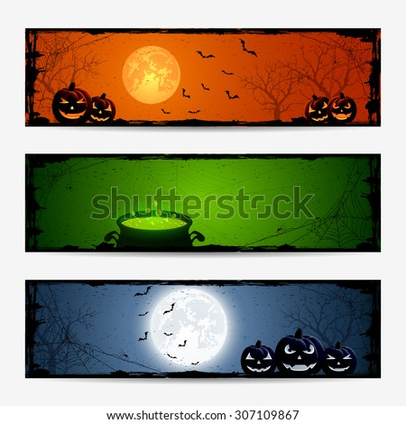 Halloween banners with pumpkins and witches pot, illustration. - stock vector