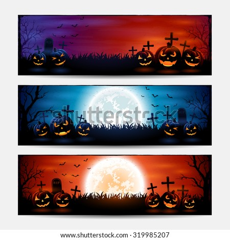 Halloween banners with pumpkins on graveyard, illustration. - stock vector