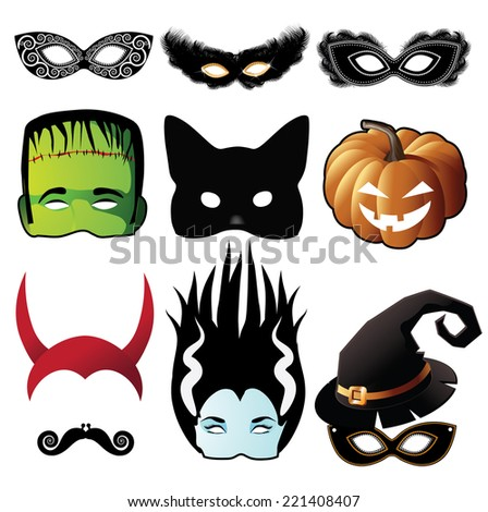 Halloween Black cat mask collection EPS 10 vector - stock vector