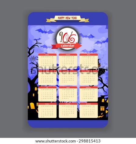 halloween blue background Calendar 2016 year design - stock vector
