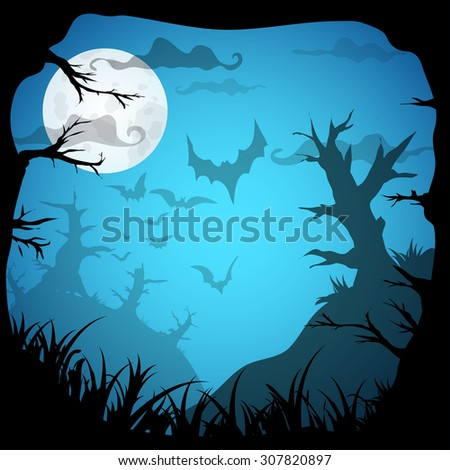 Halloween blue spooky frame border with moon, death trees and bats. Vector background with place for text - stock vector