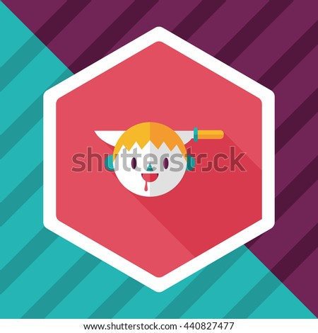 Halloween boy flat icon with long shadow,eps10 - stock vector