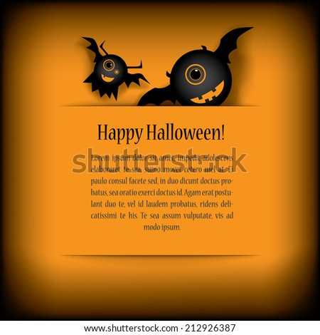 Halloween card design with cartoon monsters. Eps10 vector illustration. - stock vector