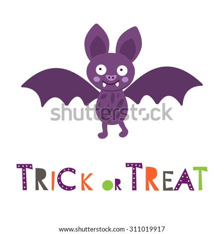 Halloween card with cute little bat. vector illustration - stock vector