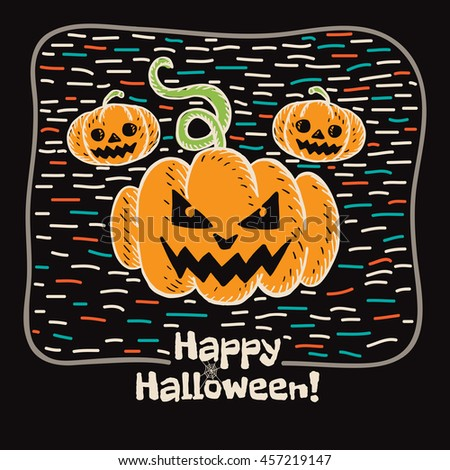 Halloween card with hand drawn pumpkin on black background. Vector hand drawn illustration. - stock vector