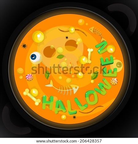 Halloween card with witch's potion - stock vector