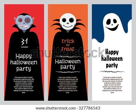 Halloween cards in flat design. Vampire, ghost, skeleton. Funny monsters. - stock vector