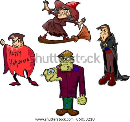 Halloween cartoon characters, Happy Halloween - stock vector