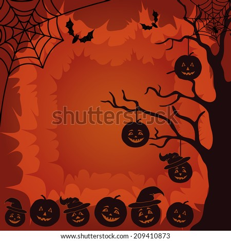 Halloween cartoon landscape with pumpkins Jack-o-lantern, trees, spider, web and bats silhouettes. Vector - stock vector