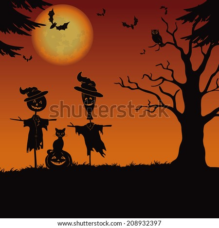 Halloween cartoon landscape with the moon, pumpkin Jack-o-lantern, scarecrows, cat, owl, trees and bats. Element of this image furnished by NASA (www.visibleearth.nasa.gov). Vector - stock vector