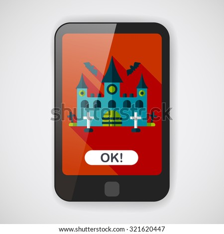 Halloween castle flat icon with long shadow,eps10 - stock vector