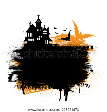 Halloween castle with ink blots and orange background. eps10 - stock vector