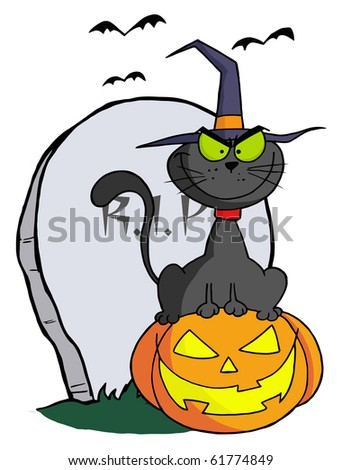 Halloween Cat on Pumpkin Near Tombstone - stock vector