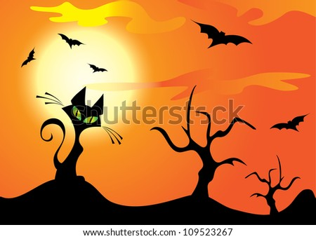 Halloween cat, trees and bats on the orange sky - stock vector