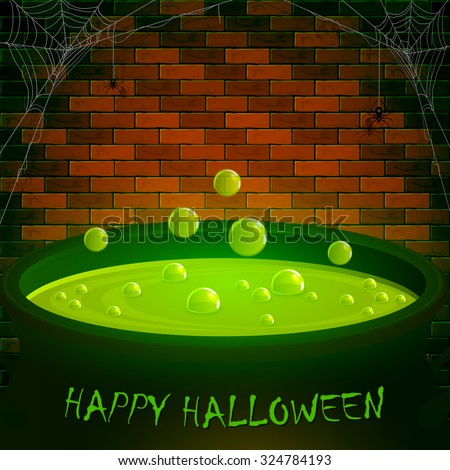 Halloween cauldron with green potion and bubbles, spiders on a brick wall background, illustration. - stock vector