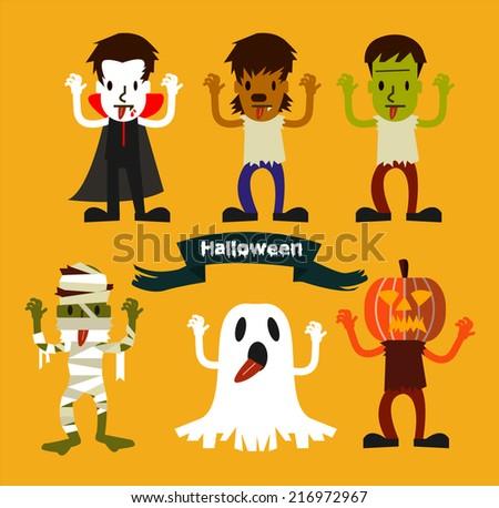 Halloween Character set. Halloween  Party costume. flat design. vector illustration  - stock vector