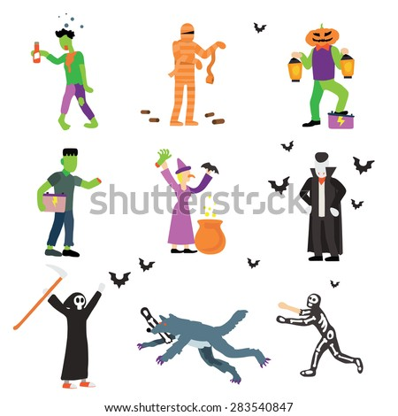 Halloween character set vector illustration isolate on white background. - stock vector