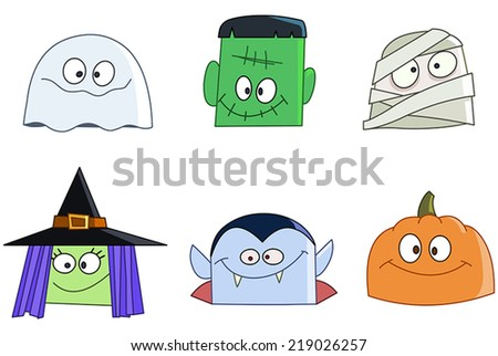 Halloween characters faces set. Ghost, green monster, mummy, witch, vampire and pumpkin  - stock vector