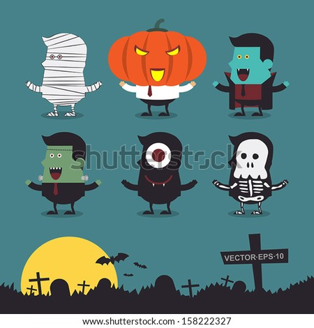 Halloween characters icon set. - stock vector