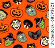 Halloween Characters vector pattern in orange background - stock vector