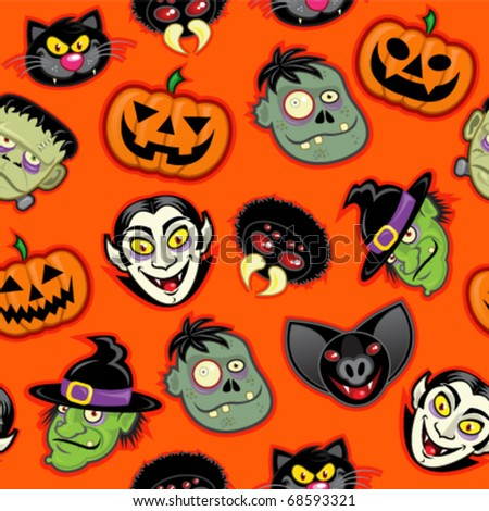 Halloween Characters vector pattern in orange background - stock vector