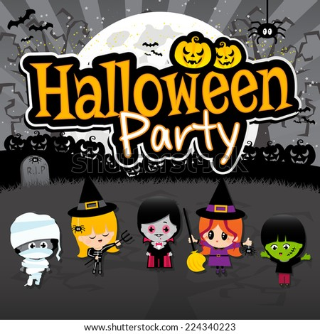 Halloween Children on a spooky black grave yard background with a full moon, pumpkins, spiders, vampire, dracula, witches, frankenstein and Halloween Party text banner - stock vector