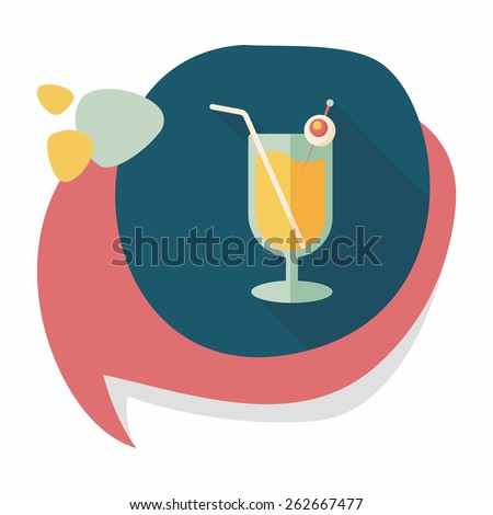 Halloween cocktail flat icon with long shadow,eps10 - stock vector