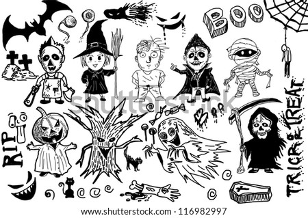 Halloween collection drawing line EPS10 Vector - stock vector