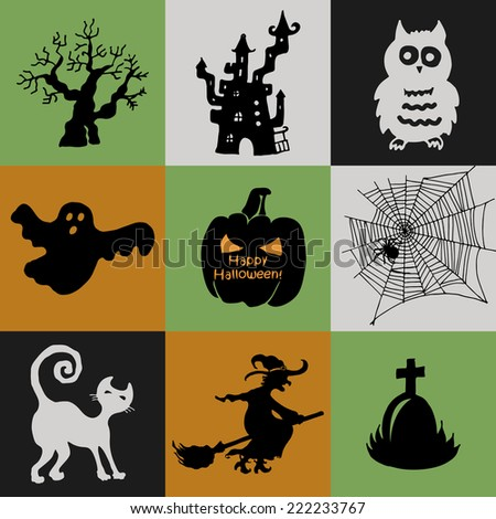Halloween Collection of icons - pumpkin, witch, owl, ghost, cat, tree, web, and the tomb of an ancient castle - stock vector