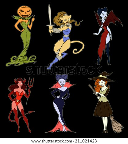 Halloween collection of six cartoon characters - stock vector
