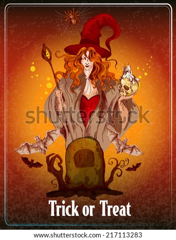 Halloween colored sketch background with witch and bats vector illustration - stock vector