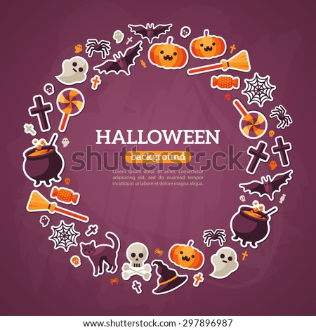 Halloween Concept. Flat Icons Arrange in the Circle Frame. Vector Illustration. Halloween Symbols. Violet Textured Background. - stock vector
