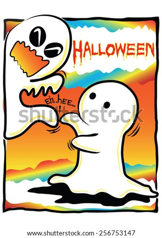 Halloween concept pantomime cartoon just tickle ghost be happy and laughing very funny made friendship. - stock vector