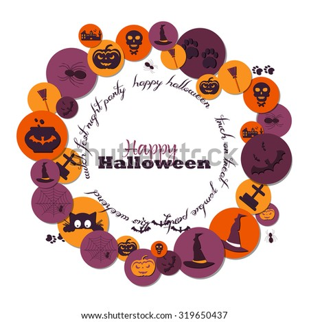 Halloween Concept. Set of Halloween Characters on Circles with Shadow. Scrapbook elements..Bat, pot,witch hat,broom,castle, pumpkin,spider,web,headstone,frightened cat,skull and crossbones. - stock vector