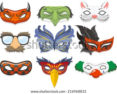 Halloween costume mask cartoon illustration icons - stock vector