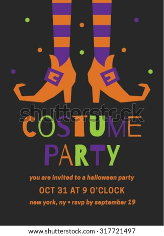Halloween Costume Party Invitation Template - stock vector
