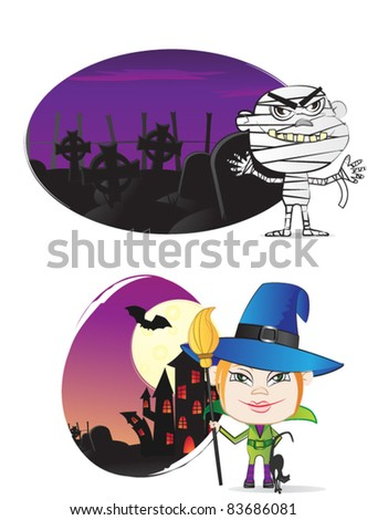 Halloween costumes mummy and witch - stock vector