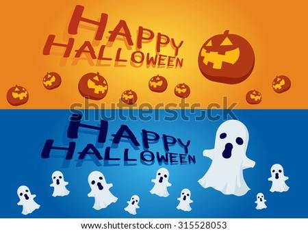 Halloween cover orange pumpkin and ghost blue  - stock vector