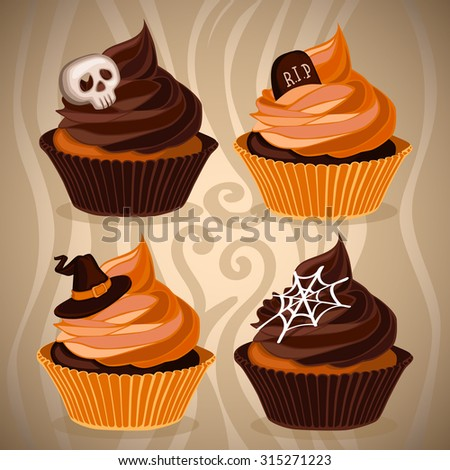Halloween cupcakes baked holiday background - stock vector