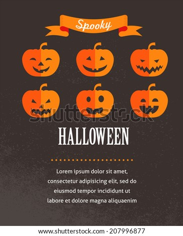 Halloween cute poster with pumpkins. Vector illustration and invitation, card, banner background - stock vector