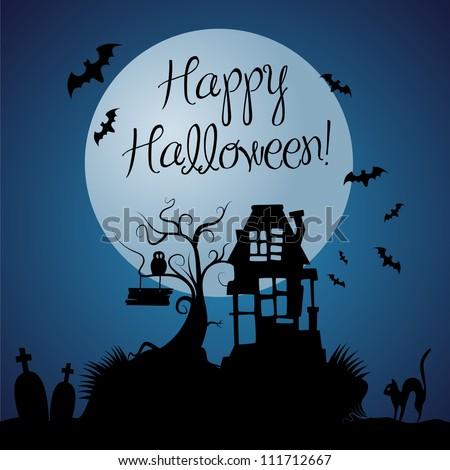 Halloween dark vector background - stock vector